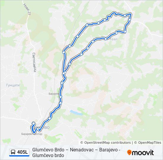 405l Trasa Redovi Voznje Stajalista I Mape Barajevo