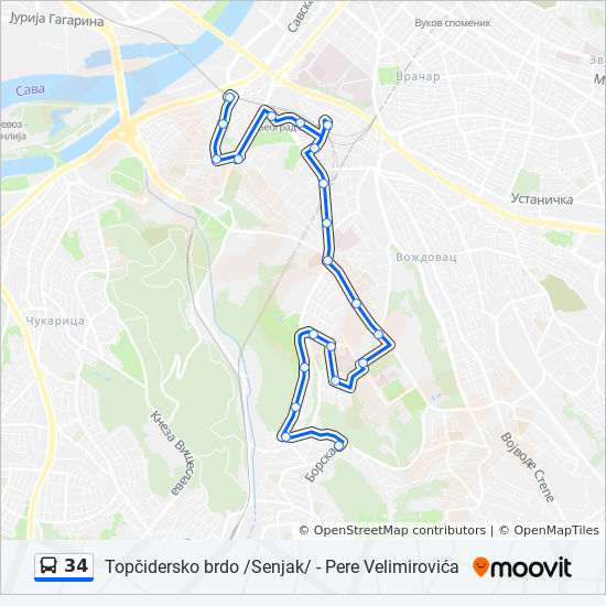 34 Route Time Schedules Stops Maps Pere Velimirovica