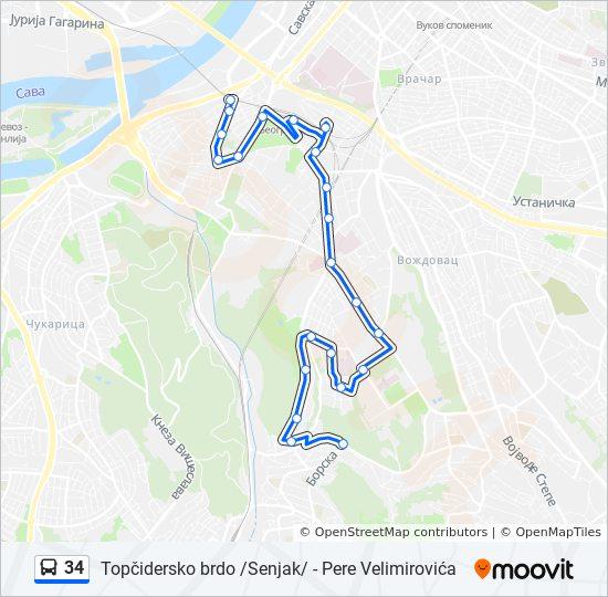senjak beograd mapa Línea 34: horarios, mapas y paradas senjak beograd mapa