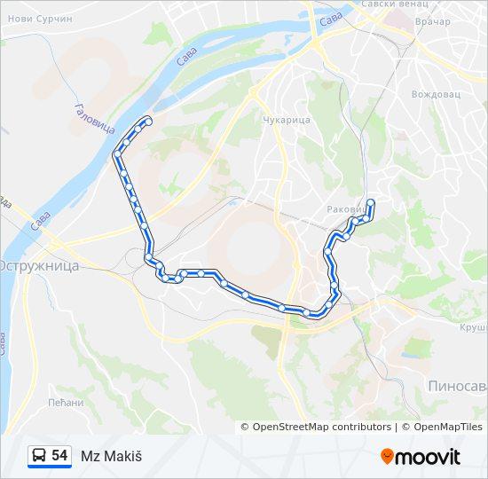 makis beograd mapa Línea 54: horarios, mapas y paradas makis beograd mapa