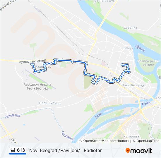 Ruta Ng 613 Iskedyul Ng Oras Hintuan Mapa Novi Beograd