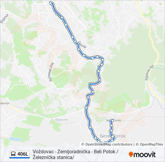 beli potok beograd mapa 406L trasa: Vremena polazaka, stajališta i mape beli potok beograd mapa