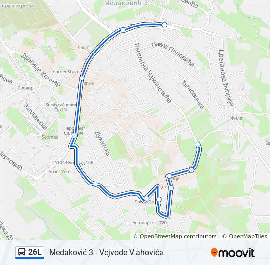 Linea 26l Horarios Mapas Y Paradas Vojvode Vlahovica