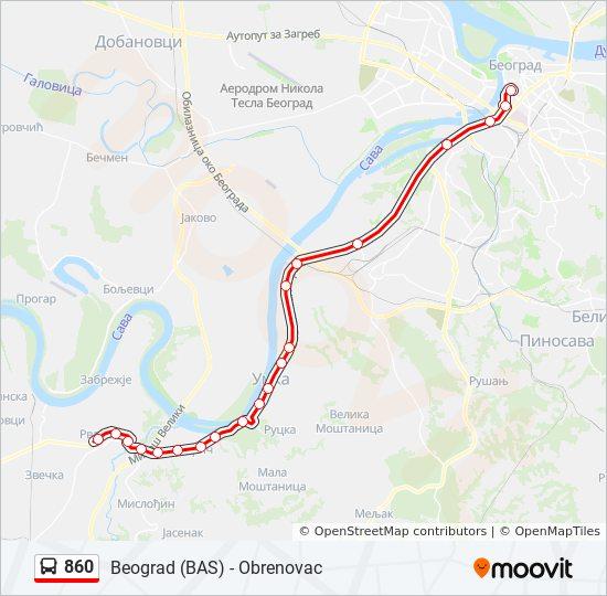 860 Trasa Redovi Voznje Stajalista I Mape Obrenovac