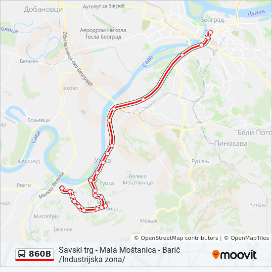 860b Route Time Schedules Stops Maps Baric Industrijska Zona