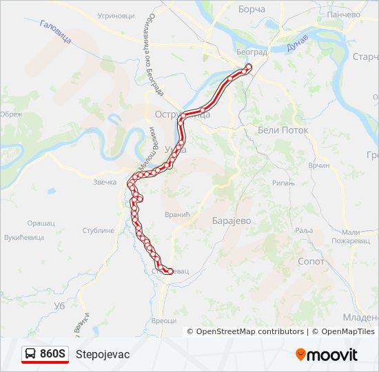 Linea 860s Horarios Mapas Y Paradas Stepojevac