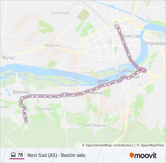 78 Trasa Redovi Voznje Stajalista I Mape Autobuska Stanica