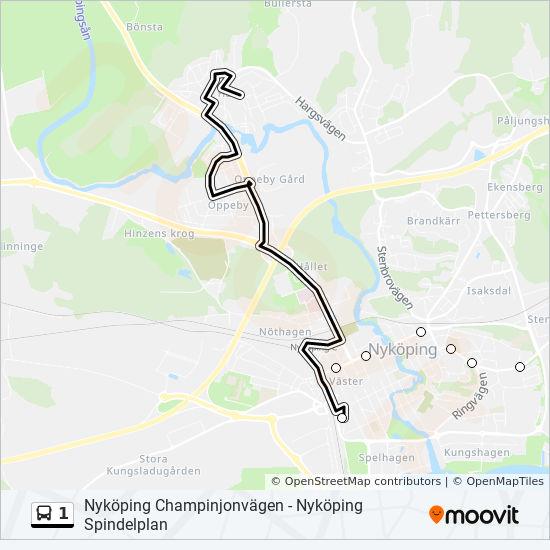 1 Rutt Tidsschema Stopp Kartor Nykoping Busstation