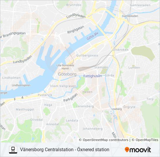Karta Vanersborg.Vanersborg Centralstation Oxnered Station Rutt Tidsschema Stopp