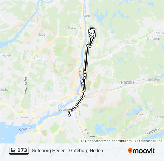 polhemsplatsen göteborg karta 173 Rutt: Tidsschema, Stopp & Kartor polhemsplatsen göteborg karta