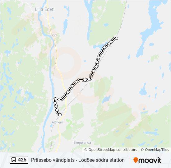 425 Rutt Tidsschema Stopp Kartor Prassebo Vandplats