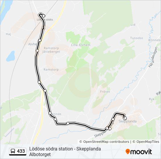 433 Rutt Tidsschema Stopp Kartor Lodose Sodra Station