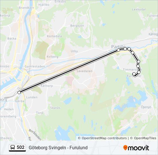 svingeln göteborg karta 502 Rutt: Tidsschema, Stopp & Kartor svingeln göteborg karta