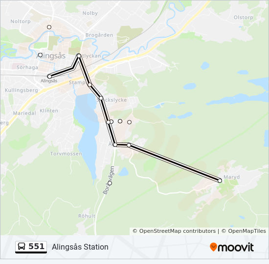 551 Rutt Tidsschema Stopp Kartor Alingsas Station