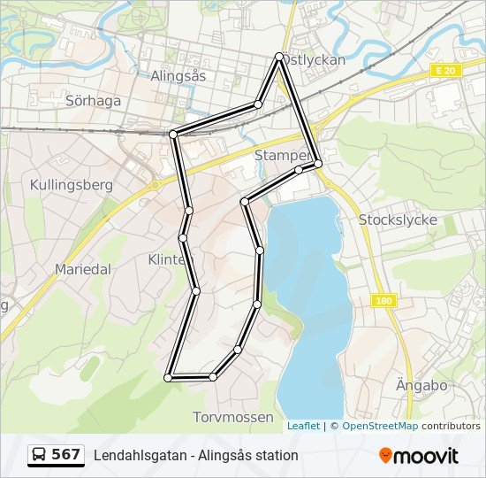 567 Rutt Tidsschema Stopp Kartor Alingsas Station