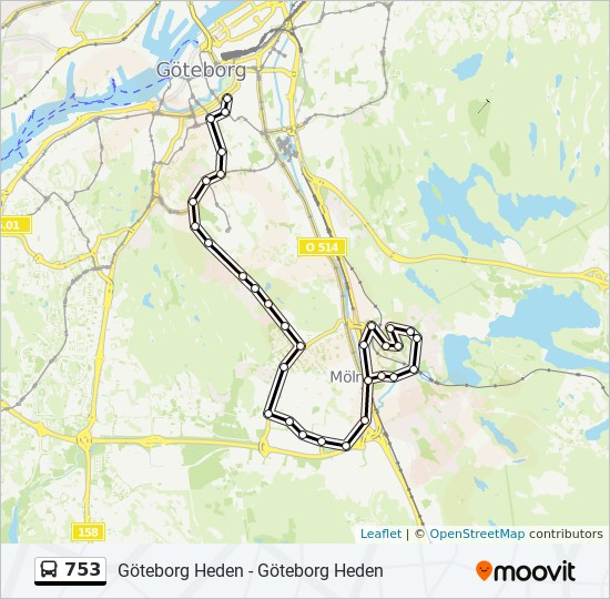 Heden Goteborg Karta.753 Rutt Tidsschema Stopp Kartor Molndal Station