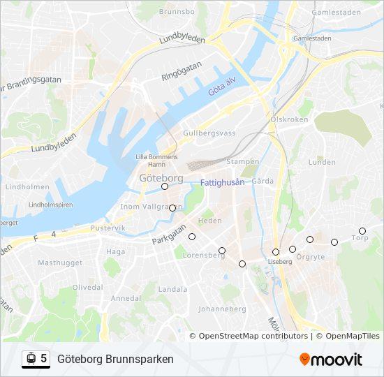 Karta E6 Goteborg.5 Rutt Tidsschema Stopp Kartor Goteborg Brunnsparken