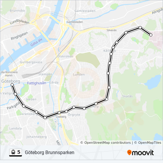 5 Route Time Schedules Stops Maps Goteborg Ostra Sjukhuset