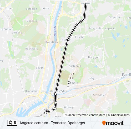svingeln göteborg karta 8 Rutt: Tidsschema, Stopp & Kartor svingeln göteborg karta