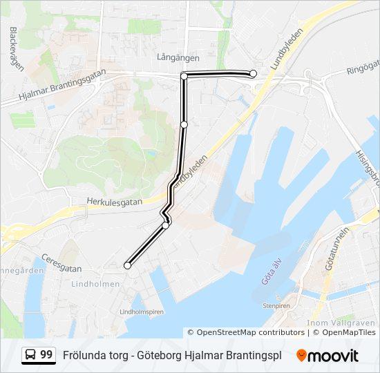 Karta E6 Goteborg.99 Rutt Tidsschema Stopp Kartor Lindholmen