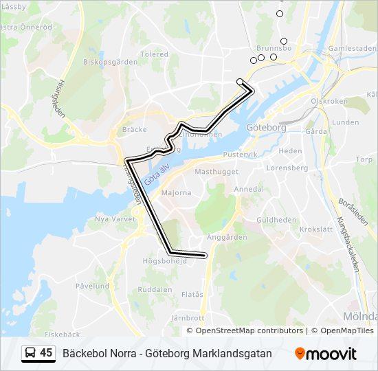 Karta E6 Goteborg.45 Rutt Tidsschema Stopp Kartor Goteborg Hjalmar Brantingspl