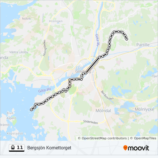 11 Route Time Schedules Stops Maps Bergsjon Komettorget