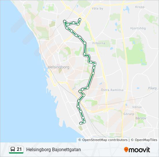 21 Rutt Tidsschema Stopp Kartor Helsingborg Bajonettgatan