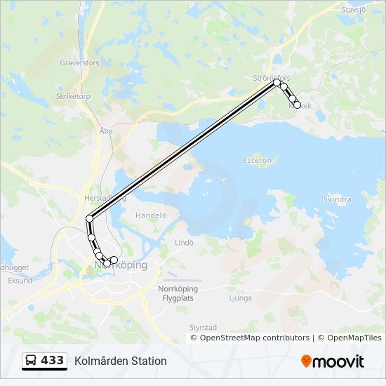 kolmården station karta 433 Rutt: Tidsschema, Stopp & Kartor kolmården station karta