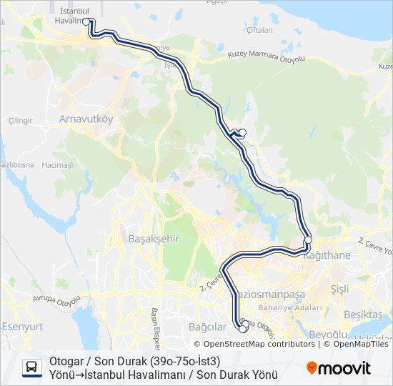 Plan de la ligne HVİST-5 de bus