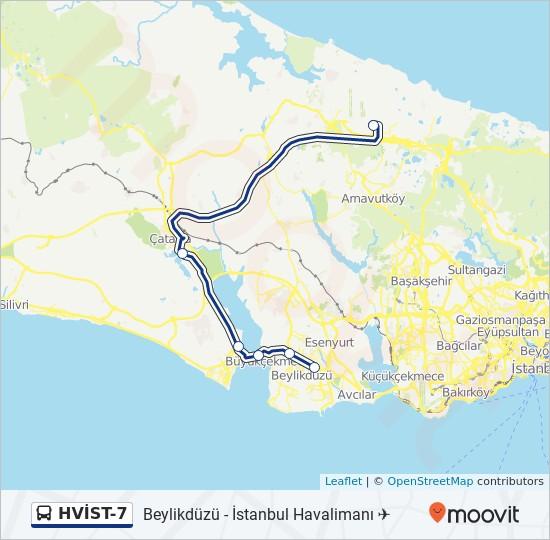 Plan de la ligne HVİST-7 de bus