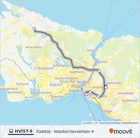 Plan de la ligne HVİST-9 de bus