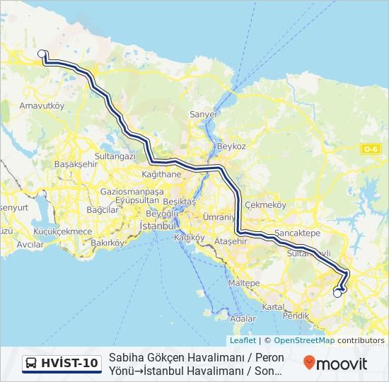 Plan de la ligne HVİST-10 de bus