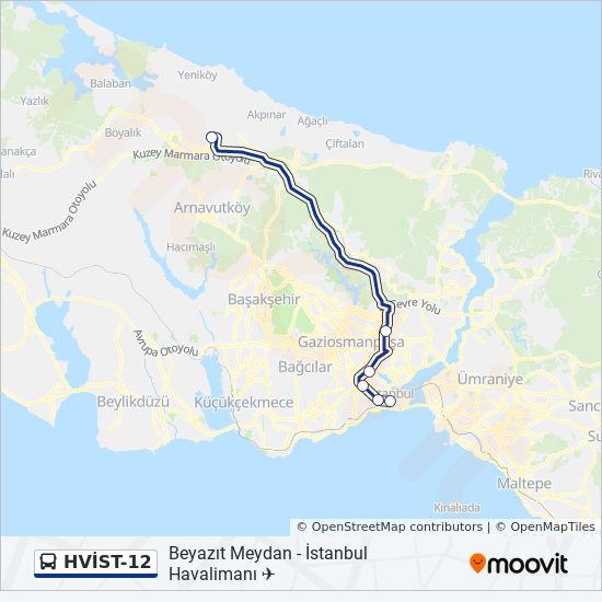 Plan de la ligne HVİST-12 de bus