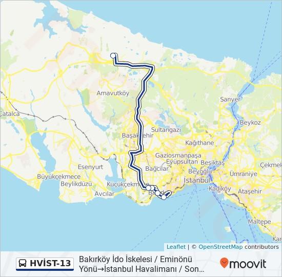Plan de la ligne HVİST-13 de bus