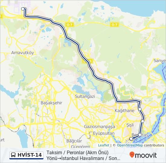 Plan de la ligne HVİST-14 de bus