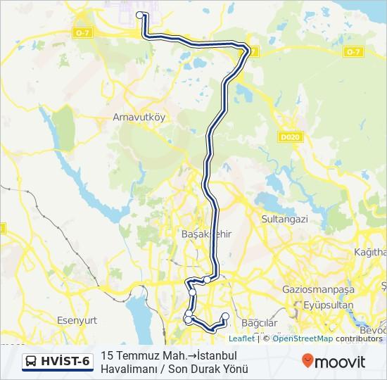 Plan de la ligne HVİST-6 de bus