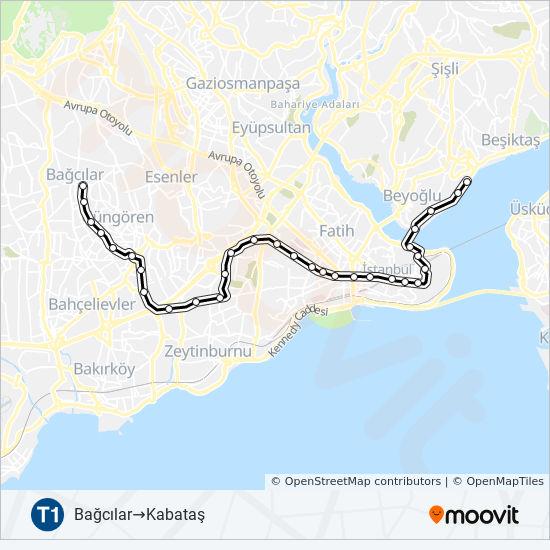 T1 Route: Time Schedules, Stops & Maps - Bağcılar →Kabataş
