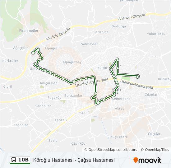 10B otobüs Hattı Haritası
