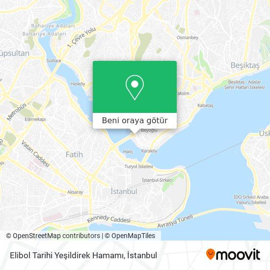 Elibol Tarihi Yeşildirek Hamamı harita