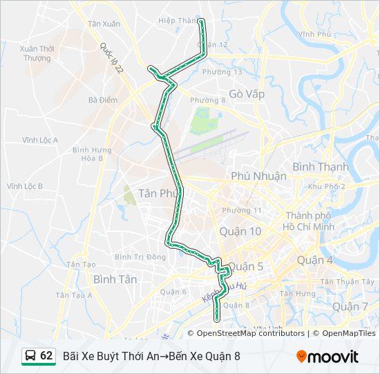 Bản đồ Tuyến 62 xe buýt
