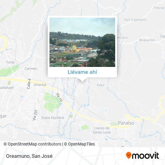 Mapa de Oreamuno