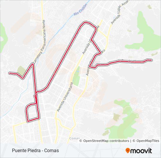 Маршрут 1104: расписание, схема и остановки - Puente Piedra - Comas