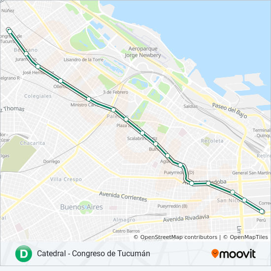 Subway Map Of Buesnos Aries Olleros Station.D Route Time Schedules Stops Maps Catedral Congreso De Tucuman