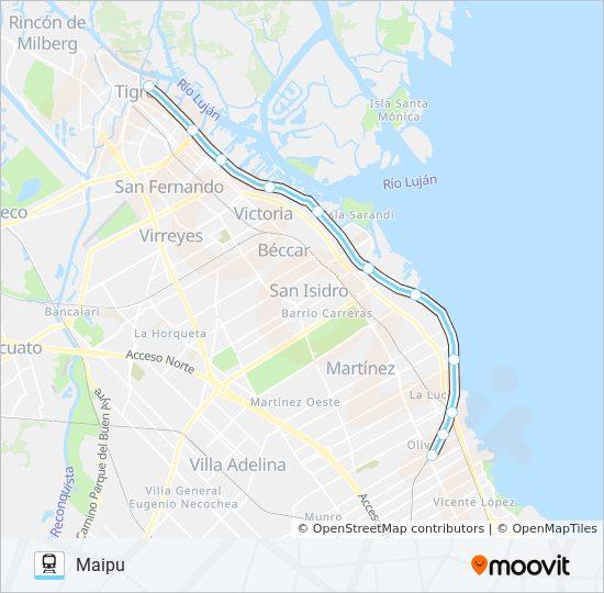 Tren De La Costa Route Time Schedules Stops Maps Maipu