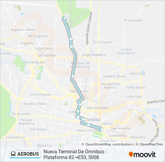 Mapa De Cordoba Capital.Linea Aerobus Horarios Mapas Y Paradas Nueva Terminal De