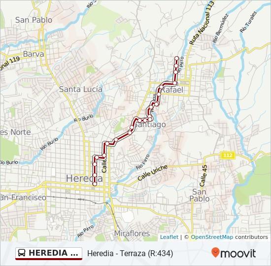 Línea Heredia Terraza Horarios Mapas Y Paradas