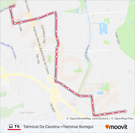 T6 bus Line Map