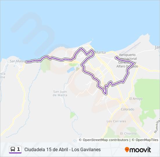 Rota Da Linha 1 Horarios Estacoes E Mapas Los Gavilanes