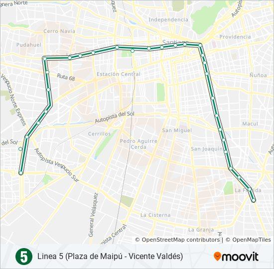 Ruta L5 Horarios Paradas Y Mapas Direccion Plaza Maipu