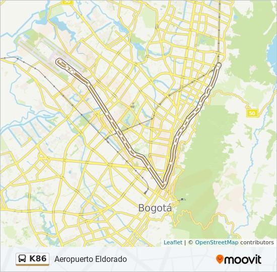 K86 Route: Time Schedules, Stops & Maps - Aeropuerto Eldorado on